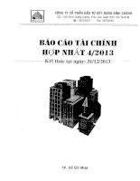 Báo cáo tài chính hợp nhất quý 4 năm 2013 - Công ty Cổ phần Đầu tư Xây dựng Bình Chánh