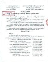 Nghị quyết Đại hội cổ đông thường niên năm 2010 - Công ty cổ phần Khoáng sản Bình Định