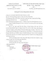 Nghị quyết Hội đồng Quản trị - Công ty Cổ phần Khoáng sản Vinas A Lưới