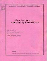 Báo cáo tài chính hợp nhất quý 2 năm 2014 - Công ty Cổ phần Khoáng sản Bắc Kạn