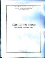 Báo cáo tài chính quý 1 năm 2016 - CTCP Cảng Chân Mây