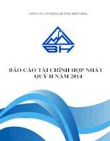 Báo cáo tài chính hợp nhất quý 2 năm 2014 - Công ty Cổ phần Đường Biên Hoà