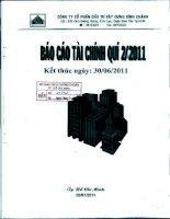 Báo cáo tài chính công ty mẹ quý 2 năm 2011 - Công ty Cổ phần Đầu tư Xây dựng Bình Chánh
