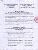Nghị quyết Đại hội cổ đông thường niên - Công ty cổ phần Đầu tư Hạ tầng Kỹ thuật T.P Hồ Chí Minh