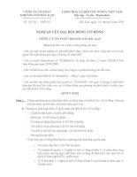Nghị quyết đại hội cổ đông ngày 14-9-2010 - Công ty Cổ phần Khoáng sản Bắc Kạn