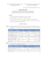 Nghị quyết Đại hội cổ đông thường niên năm 2013 - Công ty Cổ phần Cấp nước Bến Thành
