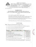 Nghị quyết Đại hội cổ đông thường niên năm 2012 - Công ty cổ phần Thực phẩm Nông sản Xuất khẩu Sài Gòn