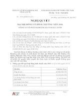 Nghị quyết Đại hội cổ đông thường niên năm 2011 - Công ty Cổ phần Khoáng sản Vinas A Lưới