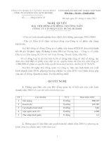 Nghị quyết Đại hội cổ đông thường niên năm 2011 - CTCP Xây dựng HUD101