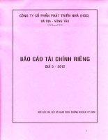 Báo cáo tài chính công ty mẹ quý 3 năm 2012 - Công ty Cổ phần Phát triển nhà Bà Rịa-Vũng Tàu