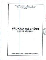 Báo cáo tài chính công ty mẹ quý 3 năm 2012 - Tổng Công ty Khí Việt Nam-CTCP