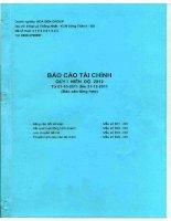 Báo cáo tài chính công ty mẹ quý 1 năm 2011 - Công ty Cổ phần Tập đoàn Hoa Sen