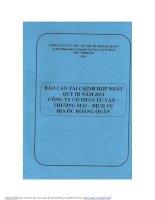 Báo cáo tài chính hợp nhất quý 3 năm 2011 - Công ty cổ phần Tư vấn-Thương mại-Dịch vụ Địa ốc Hoàng Quân