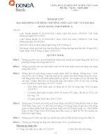 Nghị quyết Đại hội cổ đông thường niên năm 2011 - Ngân hàng Thương mại cổ phần Đông Á