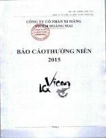 Báo cáo thường niên năm 2015 - Công ty cổ phần Xi măng VICEM Hoàng Mai