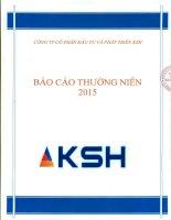 Báo cáo thường niên năm 2015 - Công ty Cổ phần Đầu tư và Phát triển KSH