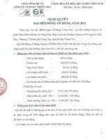 Nghị quyết Đại hội cổ đông thường niên năm 2011 - Công ty Cổ phần Phát triển nhà Bà Rịa-Vũng Tàu