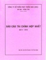 Báo cáo tài chính hợp nhất quý 2 năm 2012 - Công ty Cổ phần Phát triển nhà Bà Rịa-Vũng Tàu