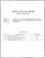 Báo cáo tài chính quý 2 năm 2012 - Công ty Cổ phần Chứng khoán Đông Dương