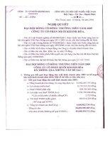 Nghị quyết Đại hội cổ đông thường niên năm 2009 - Công ty Cổ phần Muối Khánh Hòa