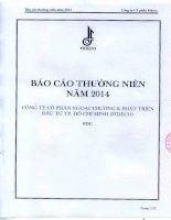 Báo cáo thường niên năm 2014 - Công ty Cổ phần Ngoại thương và Phát triển Đầu tư Thành phố Hồ Chí Minh