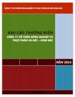Báo cáo thường niên năm 2014 - Công ty Cổ phần Nông nghiệp và Thực phẩm Hà Nội - Kinh Bắc