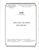 Báo cáo tài chính công ty mẹ quý 4 năm 2011 - Công ty Cổ phần Dược phẩm Cửu Long