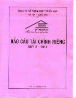 Báo cáo tài chính công ty mẹ quý 2 năm 2014 - Công ty Cổ phần Phát triển nhà Bà Rịa-Vũng Tàu