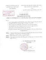 Nghị quyết Hội đồng Quản trị ngày 30-5-2011 - Công ty Cổ phần Đầu tư Thương mại Thủy Sản