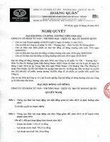 Nghị quyết Đại hội cổ đông thường niên - Công ty cổ phần Tư vấn-Thương mại-Dịch vụ Địa ốc Hoàng Quân