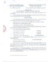Nghị quyết đại hội cổ đông ngày 05-03-2009 - Công ty Cổ phần Cao su Hòa Bình