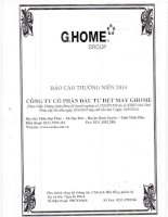Báo cáo thường niên năm 2014 - Công ty cổ phần Đầu tư Dệt may G.Home