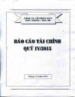 Báo cáo tài chính quý 4 năm 2015 - Công ty Cổ phần May Phú Thịnh - Nhà Bè
