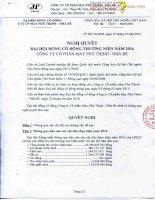 Nghị quyết Đại hội cổ đông thường niên - Công ty Cổ phần May Phú Thịnh - Nhà Bè