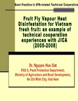 Fruit Fly Vapour Heat Disinfestation for Vietnam fresh fruit: an example of technical cooperation experiences with JICA  (20052008)