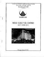 Báo cáo tài chính công ty mẹ quý 1 năm 2011 - Công ty Cổ phần Phát triển Đô thị Từ Liêm