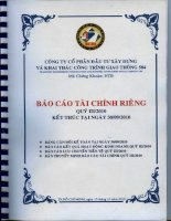 Báo cáo tài chính công ty mẹ quý 3 năm 2010 - Công ty cổ phần Đầu tư Xây dựng và Khai thác Công trình Giao thông 584