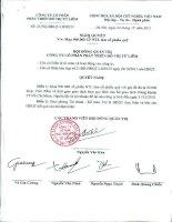 Nghị quyết Hội đồng Quản trị ngày 24-10-2011 - Công ty Cổ phần Phát triển Đô thị Từ Liêm