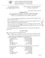 Nghị quyết đại hội cổ đông ngày 26-06-2009 - Công ty Cổ phần May Phú Thịnh - Nhà Bè