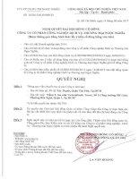 Nghị quyết Đại hội cổ đông bất thường - Công ty Cổ phần Công nghiệp - Dịch vụ - Thương Mại Ngọc Nghĩa