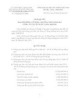Nghị quyết Đại hội cổ đông thường niên năm 2011 - CTCP Cấp nước Long Khánh