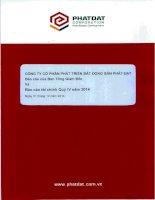 Báo cáo tài chính quý 4 năm 2014 - Công ty cổ phần Phát triển Bất động sản Phát Đạt