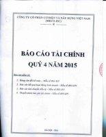Báo cáo tài chính công ty mẹ quý 4 năm 2015 - Công ty Cổ phần Cơ điện và Xây dựng Việt Nam
