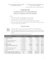 Nghị quyết Đại hội cổ đông thường niên năm 2010 - Công ty Cổ phần Cấp nước Nhà Bè