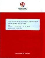 Báo cáo tài chính quý 4 năm 2013 - Công ty cổ phần Phát triển Bất động sản Phát Đạt