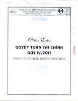 Báo cáo tài chính quý 4 năm 2011 - Công ty Cổ phần Đường Ninh Hòa