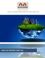 Báo cáo thường niên năm 2014 - Công ty cổ phần Phát triển Đô thị Nam Hà Nội