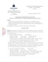 Nghị quyết Hội đồng Quản trị ngày 12-01-2011 - Công ty cổ phần Đầu tư và Phát triển Đô thị Long Giang