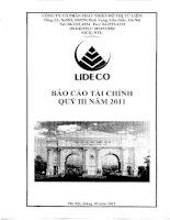 Báo cáo tài chính công ty mẹ quý 3 năm 2011 - Công ty Cổ phần Phát triển Đô thị Từ Liêm