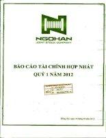 Báo cáo tài chính hợp nhất quý 1 năm 2012 - Công ty Cổ phần Ngô Han